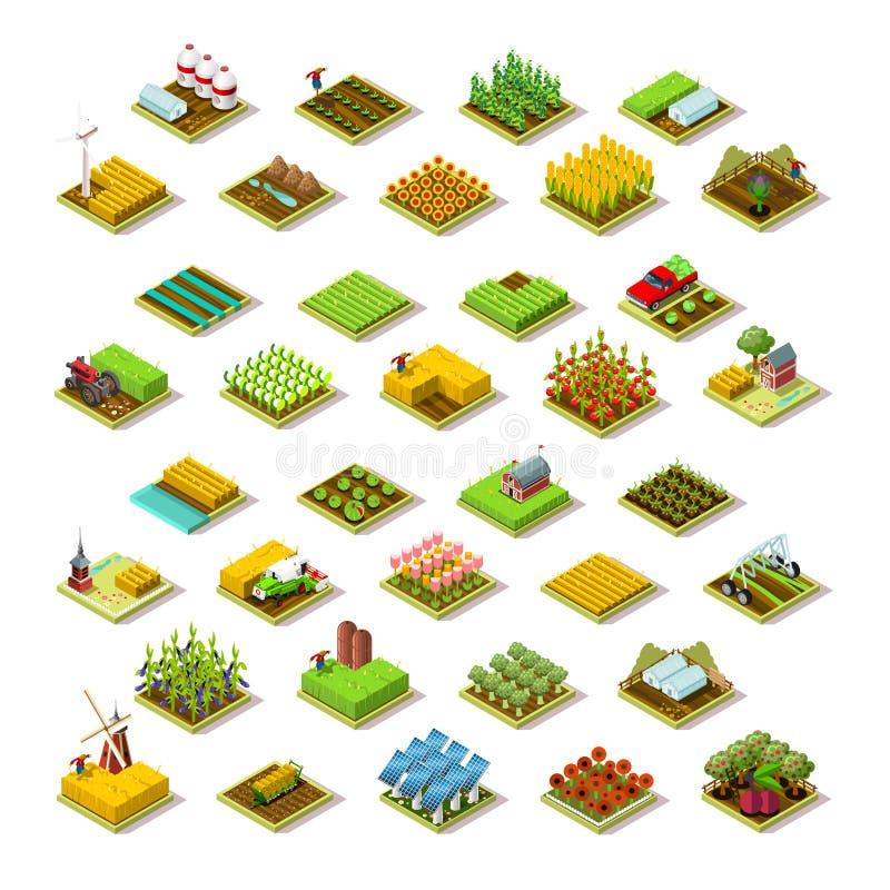 Isometrisk illustration för vektor för samling för symbol för lantgårdbyggnad 3D royaltyfri illustrationer