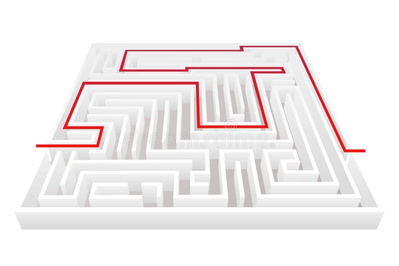 Isometrisk illustration för vektor för mall för design för bakgrund 3d för labyrint för labyrint för vägpasserandeförveckling vektor illustrationer