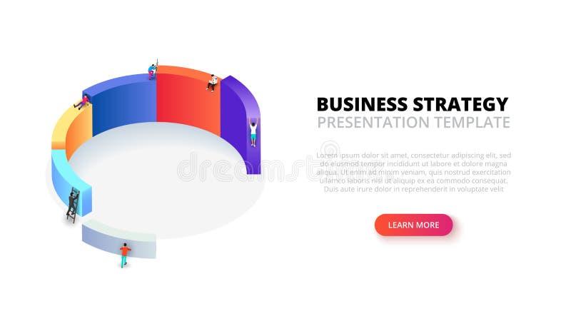 Isometrisk illustration för vektor med folk för infographic Tillväxtbegrepp med 6 moment, alternativ, delar eller processar stock illustrationer