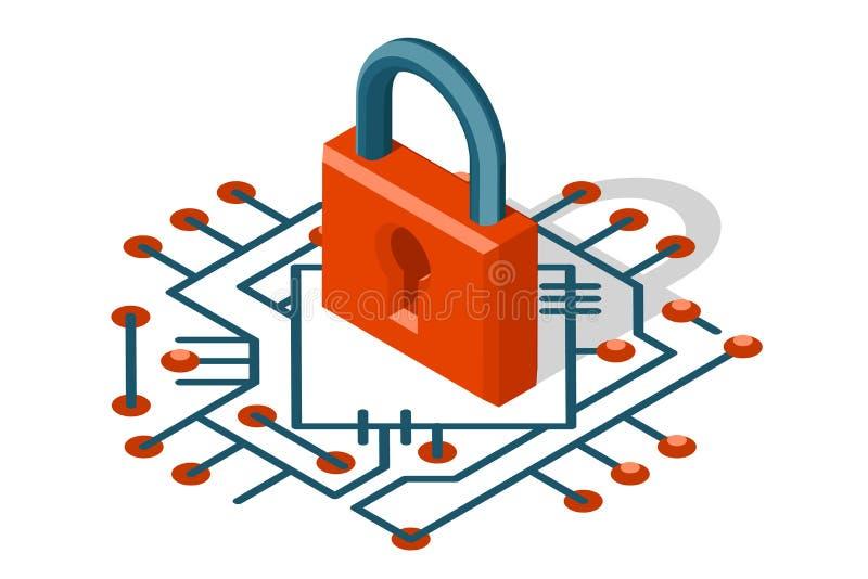 Isometrisk illustration för vektor för symbol för skydd 3d för cyber för internet för rengöringsduksäkerhetsteknologi digital stock illustrationer