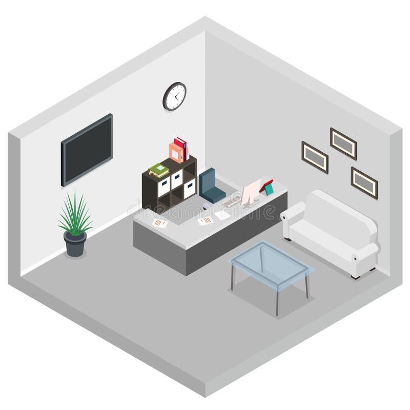 Isometrisk illustration för vektor för väntande område för skärm för bildskärm för tabell för skrivbord för soffa för mottagander vektor illustrationer