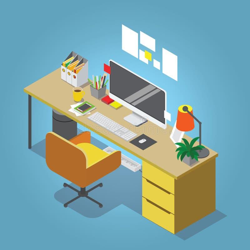 Isometrisk illustration för vektorinrikesdepartementetbegrepp Arbetsplatsinreuppsättning vektor illustrationer