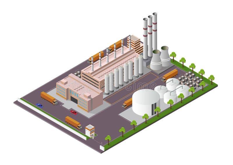 Isometrisk industribyggnadsammans?ttning med sikten av l?ttheterna stock illustrationer