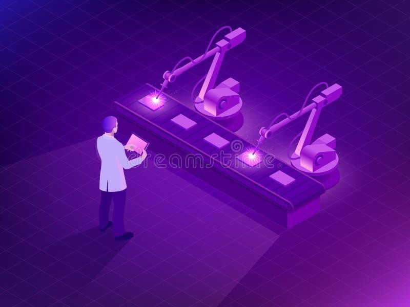 Isometrisk industriell robot som arbetar i fabrik Man som rymmer en minnestavla med ökad verklighetskärmprogramvara och av royaltyfri illustrationer