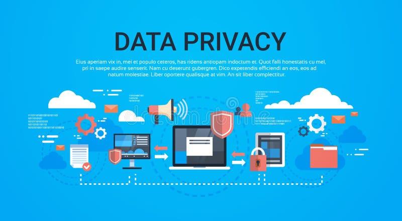 Isometrisk infographic dataavskildhet för GDPR på blått bakgrundsnätverksskydd av allmänna data för personlig lagring vektor illustrationer