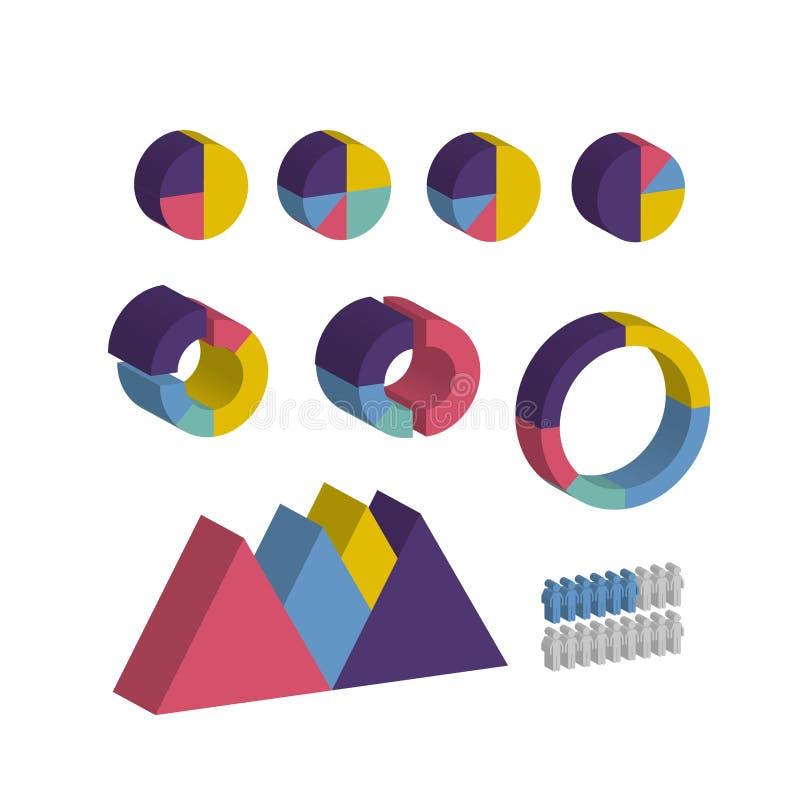 Isometrisk infographic information om affärsdiagram royaltyfri illustrationer