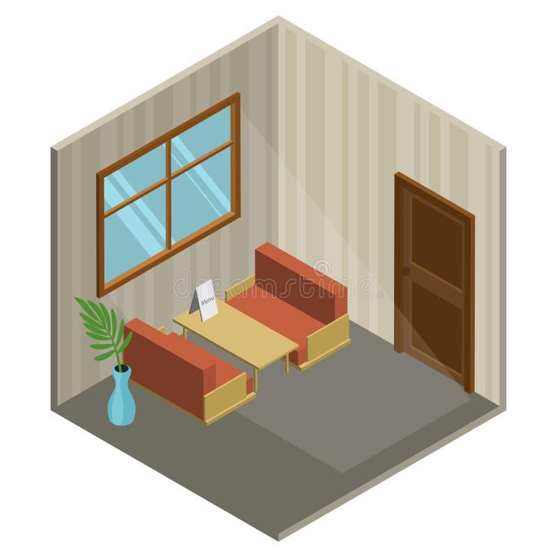Isometrisk inre av ett kafé, plan design, vektorillustration vektor illustrationer