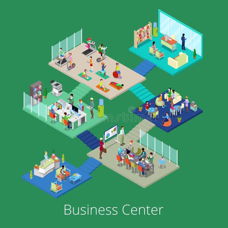 Isometrisk inre för byggnad för mitt för affärskontor med konferensrum och idrottshall vektor illustrationer