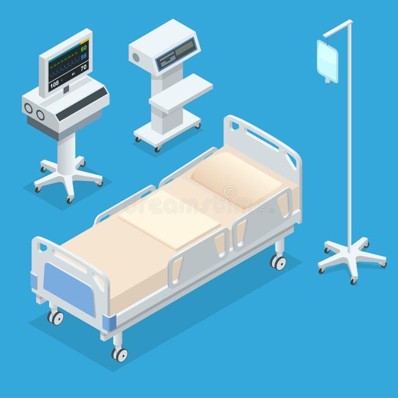 Isometrisk inre för plan illustration för vektor 3D av sjukhusrum Sjukhusrum med sängar och bekväm läkarundersökning vektor illustrationer