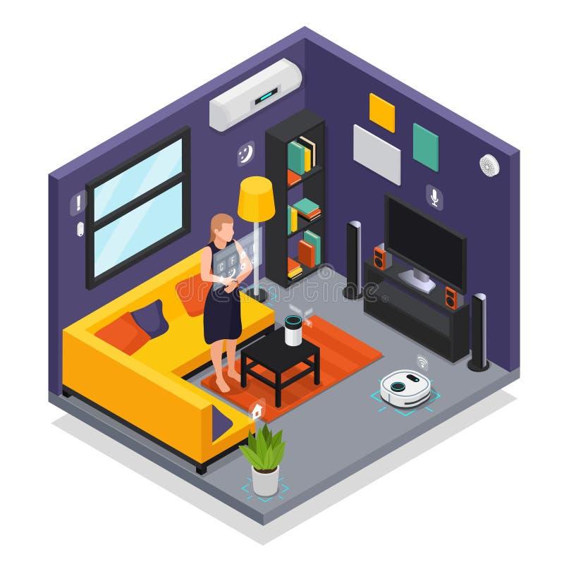 Isometrisk inre för Smart Home vektor illustrationer