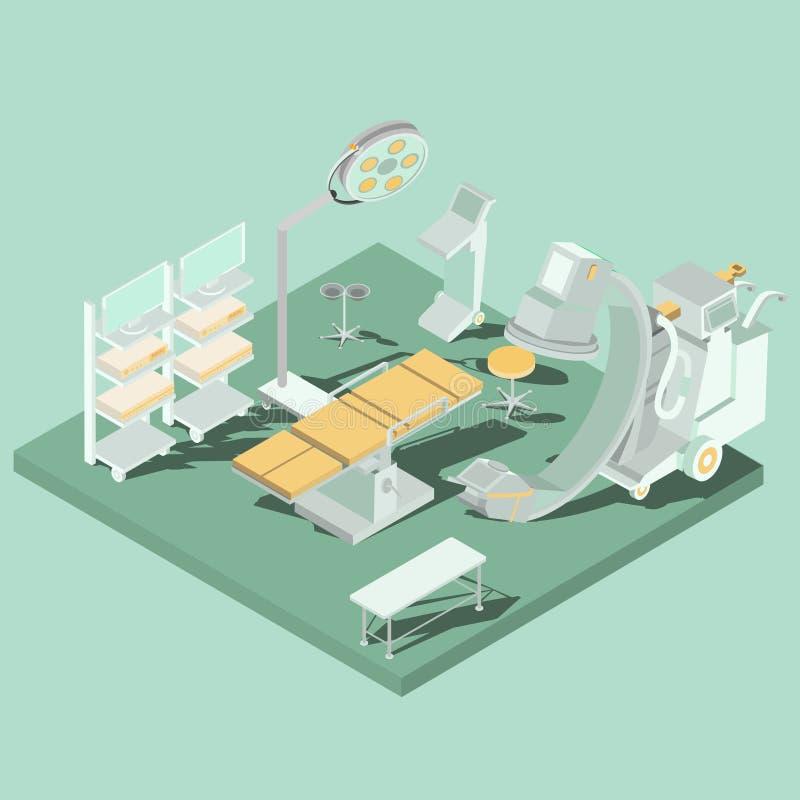 Isometrisk inre för vektor av fungeringsrum med operationsbordet, läkarundersökning och belysningsutrustning vektor illustrationer