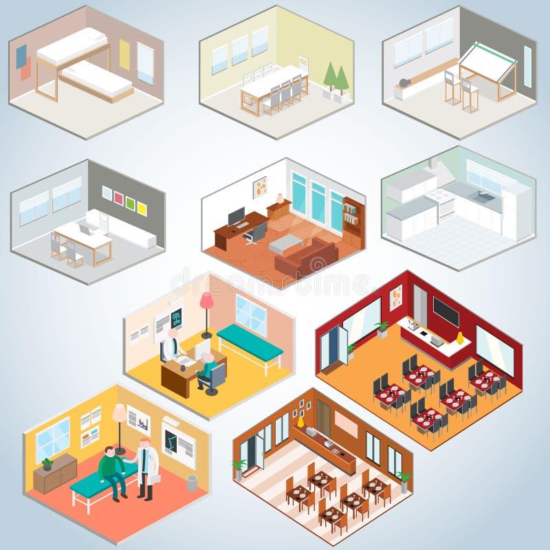 Isometrisk inreuppsättning, isometriska rum royaltyfri illustrationer