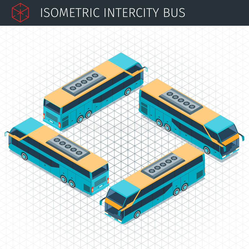 Isometrisk intercity buss vektor illustrationer