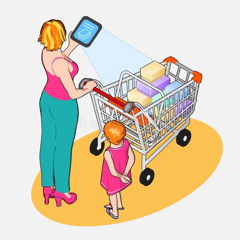 Isometrisk internet av saker - kvinna med den fulla shoppingvagnen och stock illustrationer