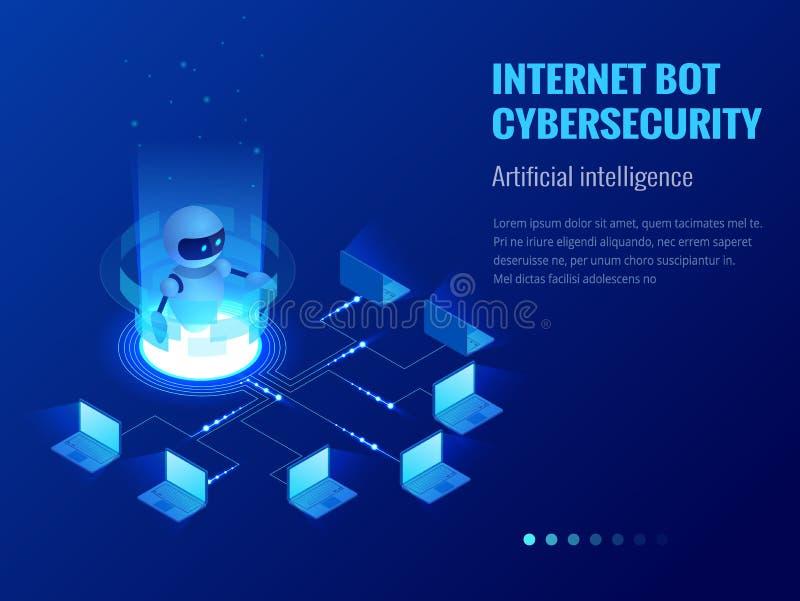 Isometrisk internetbot och cybersecurity, begrepp för konstgjord intelligens Faktisk hjälp ChatBot för fri robot av royaltyfri illustrationer