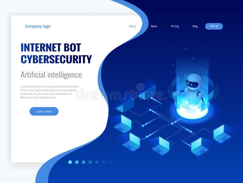 Isometrisk internetbot och cybersecurity, begrepp för konstgjord intelligens Faktisk hjälp ChatBot för fri robot av stock illustrationer