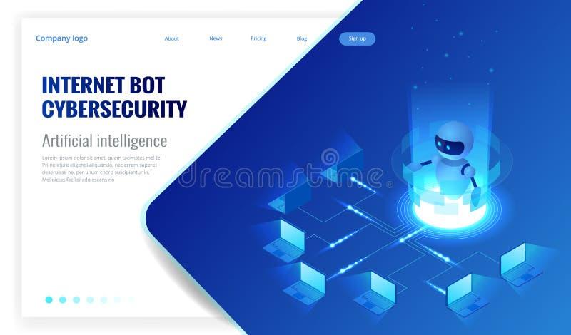 Isometrisk internetbot och cybersecurity, begrepp för konstgjord intelligens Faktisk hjälp ChatBot för fri robot av vektor illustrationer