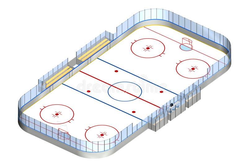 Isometrisk ishockeyisbana 3D stock illustrationer