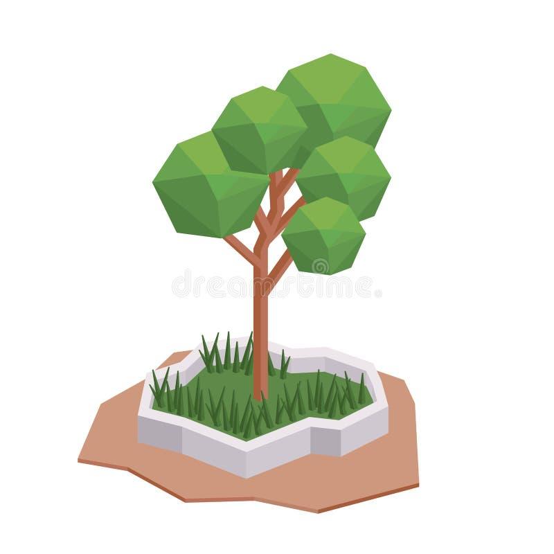Isometrisk isolerad symbolsdesign för träd stock illustrationer