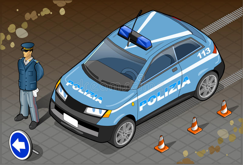 Isometrisk italiensk polisbil stock illustrationer