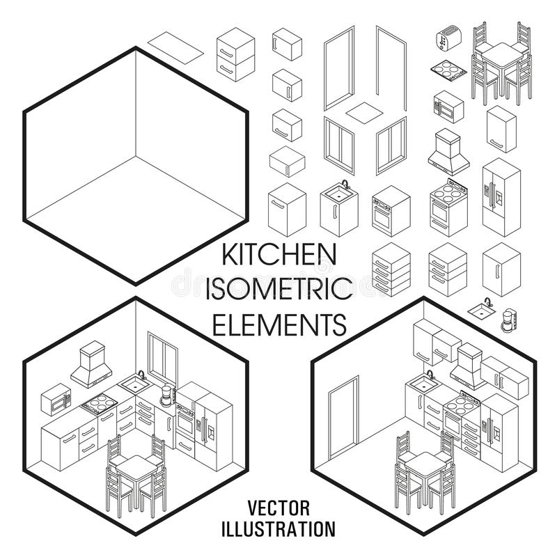 Isometrisk kökinrekonstruktör Vektoruppsättning av isometriska möblemangbeståndsdelar av hemmiljön som isoleras på vit stock illustrationer