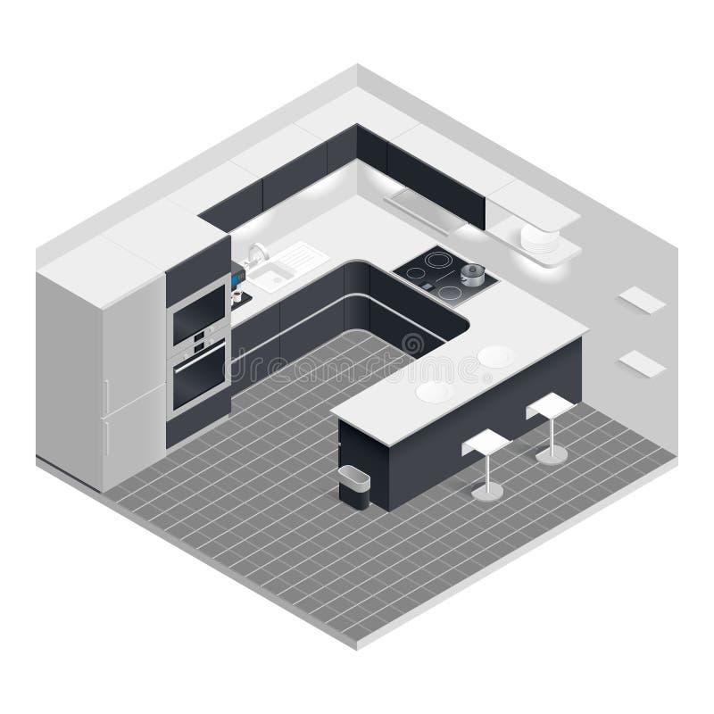 Isometrisk kökuppsättning stock illustrationer