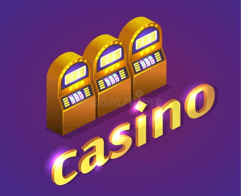 Isometrisk kasino för lägenhet 3D coins dollareuroguld stock illustrationer