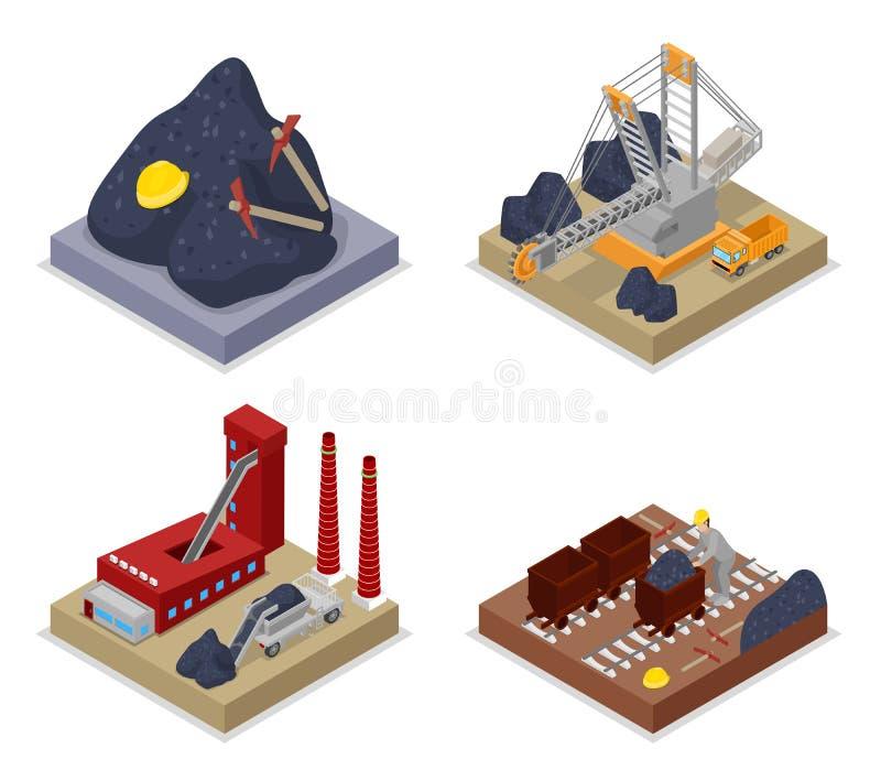 Isometrisk kolbransch Arbetare i min, lastbil och grävskopa royaltyfri illustrationer
