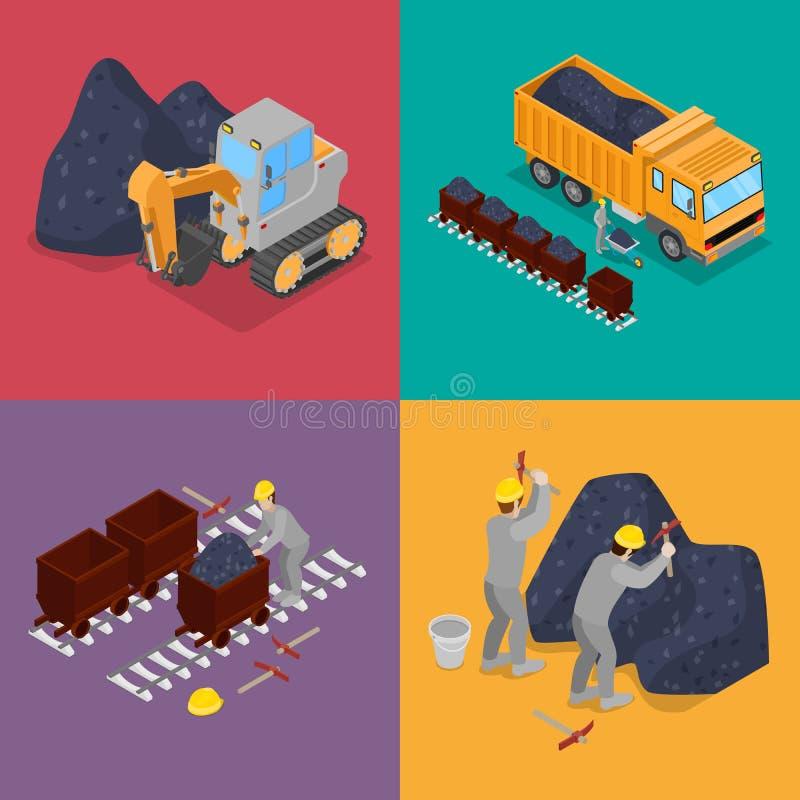 Isometrisk kolbransch med arbetare i min, grävskopa och utrustning vektor illustrationer