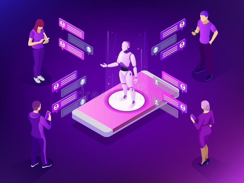 Isometrisk konstgjord intelligens Ai- och för affär IOT begrepp Mans och kvinnor som pratar med chatbotapplikation royaltyfri illustrationer