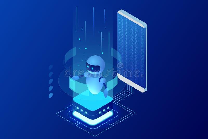 Isometrisk konstgjord intelligens Chatbot och framtida marknadsföring Ai- och för affär IOT begrepp Dialoghjälpservice royaltyfri illustrationer