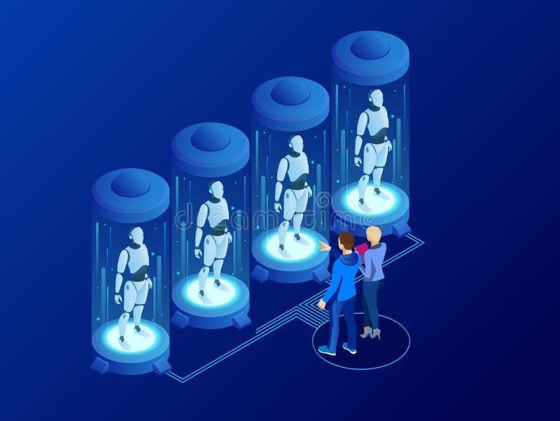 Isometrisk konstgjord intelligens i robotar Teknologi och teknik Forskareteknikern planlägger hjärnan, inställningar stock illustrationer