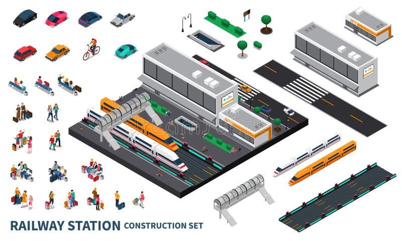 Isometrisk konstruktör för järnvägsstation stock illustrationer