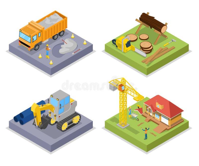 Isometrisk konstruktionsbransch Industriell kran, privat hus och skäll av trä vektor illustrationer