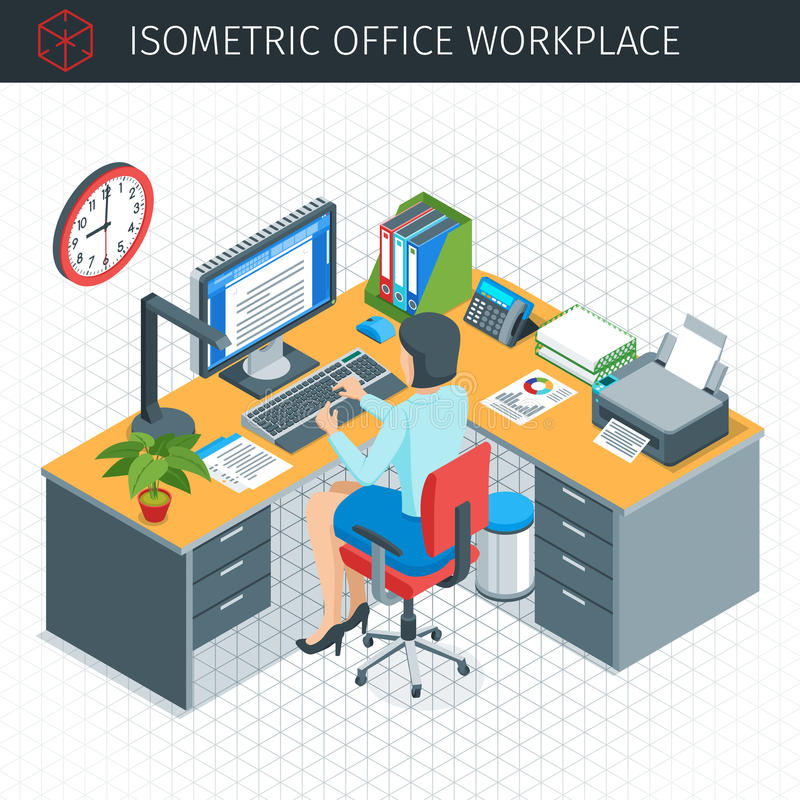 Isometrisk kontorsarbetsplats royaltyfri illustrationer