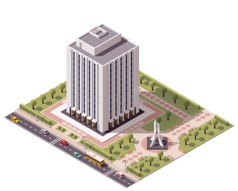 Isometrisk kontorsbyggnadsymbol för vektor royaltyfri illustrationer