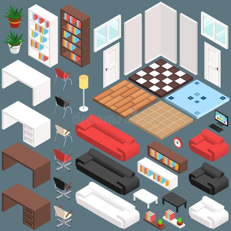 Isometrisk kontorsplanläggning skapelsesats för vektor 3D royaltyfri illustrationer