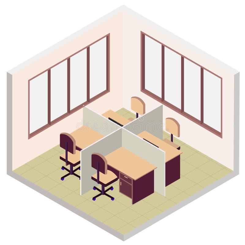 Isometrisk kontorsrumsymbol vektor illustrationer