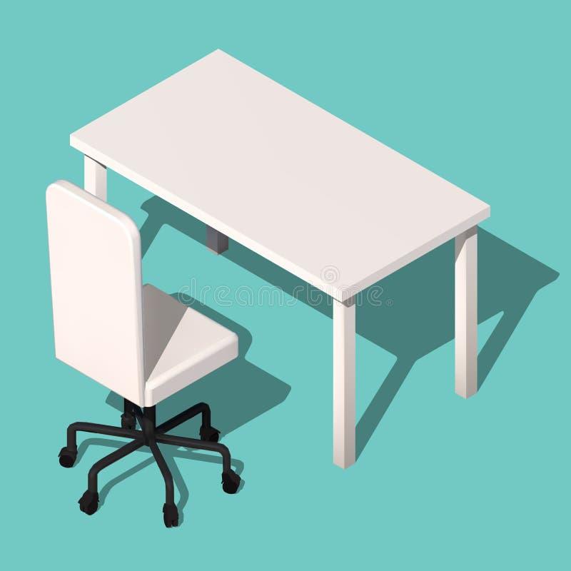 Isometrisk kontorstabell och rullstol Modern arbetsplatsdesign, vektor stock illustrationer