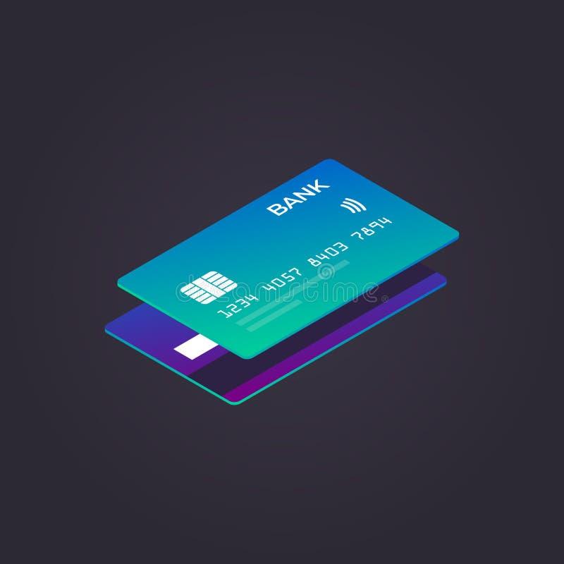 Isometrisk kreditkort också vektor för coreldrawillustration Plan stil royaltyfri illustrationer