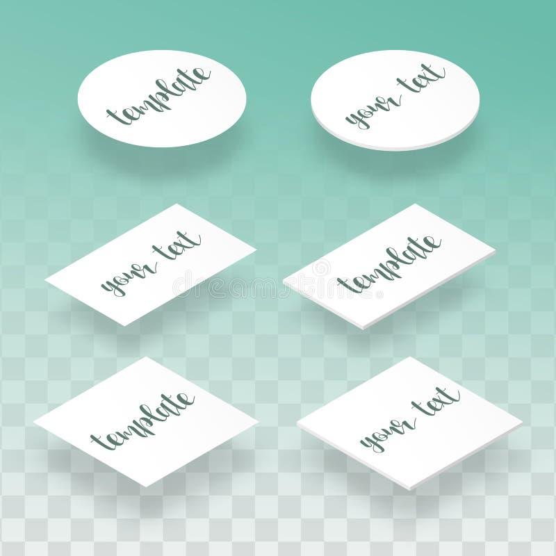 Isometrisk lägenhet och realistisk kortmall för designpresentationer stock illustrationer
