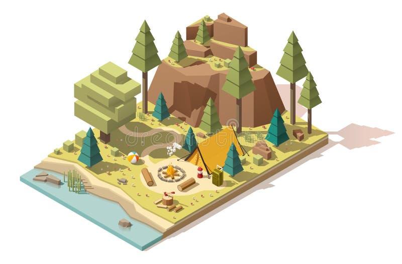 Isometrisk låg poly campingplats för vektor stock illustrationer