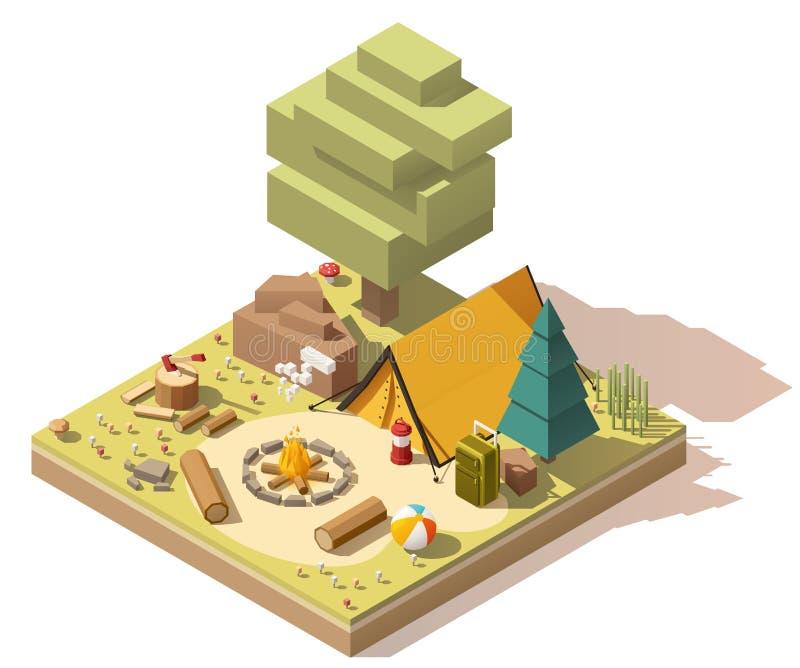 Isometrisk låg poly campingplats för vektor royaltyfri illustrationer