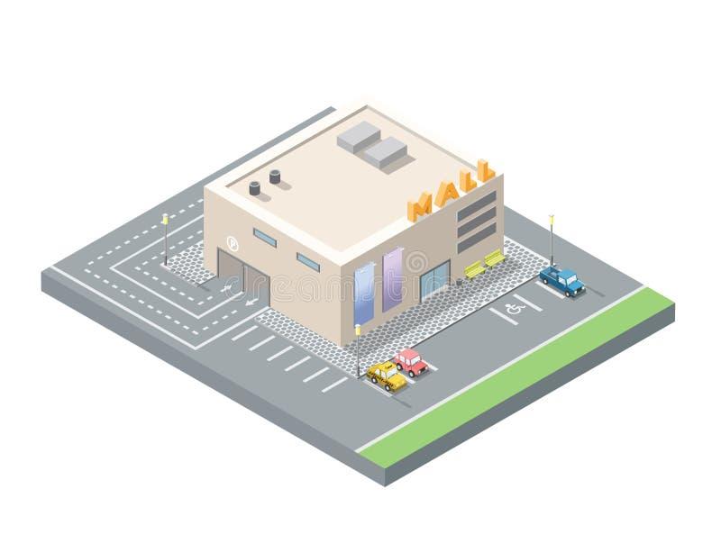 Isometrisk låg poly galleria för vektor, shoppingmitt med underjordisk bilparkering royaltyfri illustrationer