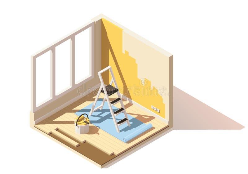 Isometrisk låg poly hem- renoveringsymbol för vektor vektor illustrationer