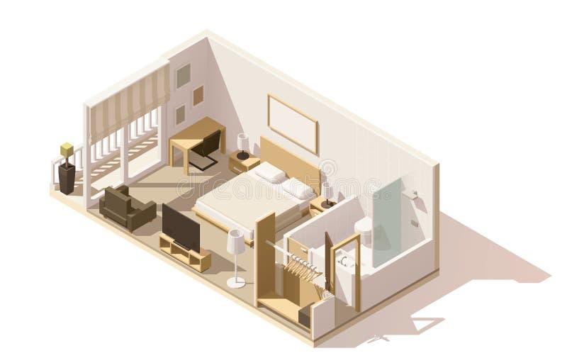 Isometrisk låg poly hotellrumsymbol för vektor vektor illustrationer