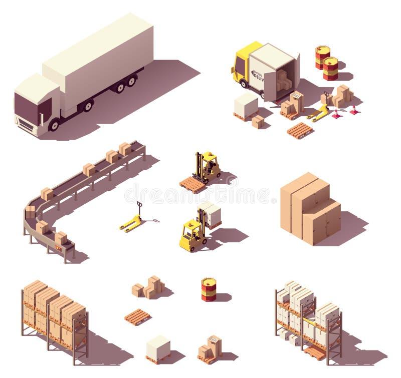 Isometrisk låg poly lagerutrustning för vektor stock illustrationer