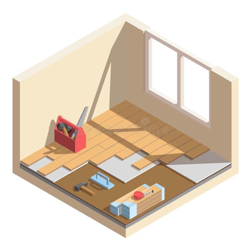 Isometrisk låg poly renoveringsymbol för hem- rum Lägga av laminat- eller parkettbrädet Hjälpmedel och material för rumreparation royaltyfri illustrationer