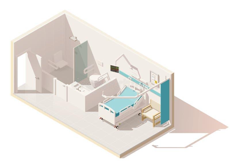 Isometrisk låg poly sjukhussal för vektor vektor illustrationer