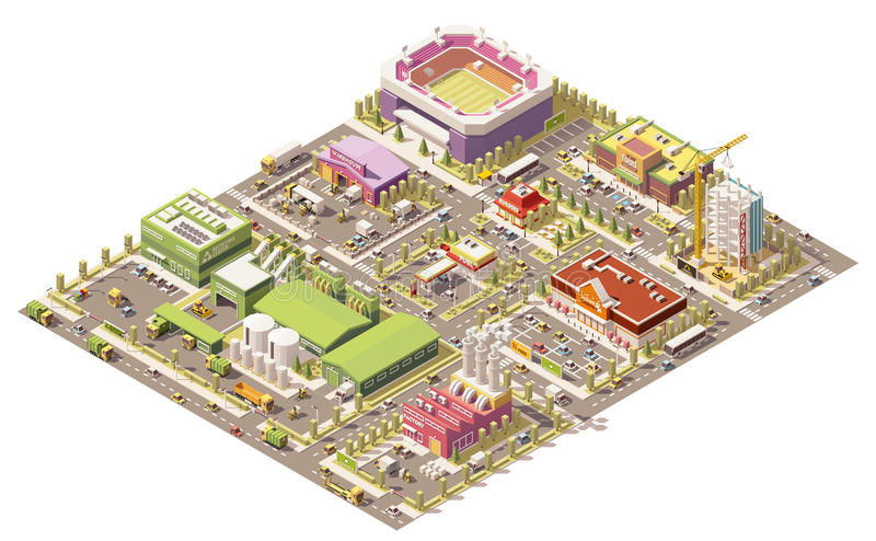 Isometrisk låg poly stad för vektor royaltyfri illustrationer